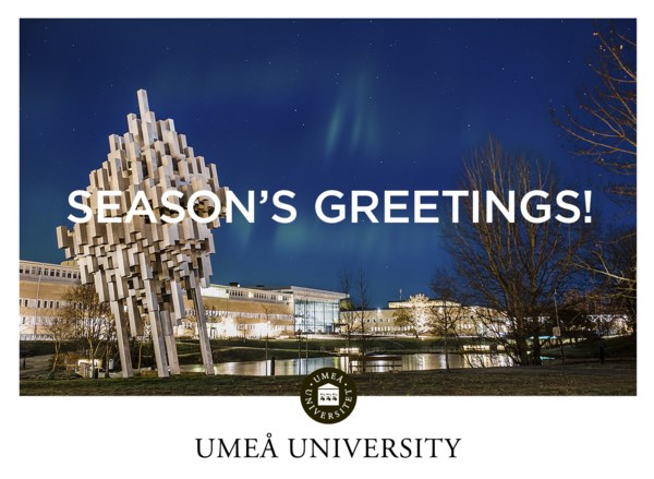 Christmas card with the message Season's greetings from Umeå University.